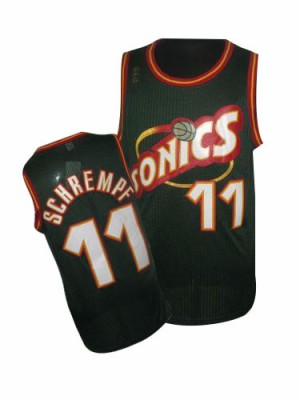 Maillot NBA Oklahoma City Thunder #11 Detlef Schrempf Vert Adidas Authentic SuperSonics Throwback - Homme