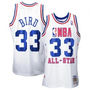Boston Celtics Mitchell and Ness Larry Bird #33 Throwback 1990 All Star Swingman Maillot d'équipe de NBA - Blanc pour Homme