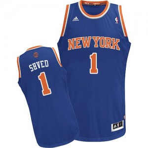 Maillot NBA Bleu royal Alexey Shved #1 New York Knicks Road Swingman Homme Adidas
