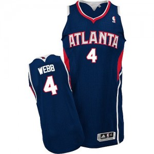 Atlanta Hawks #4 Adidas Road Bleu marin Authentic Maillot d'équipe de NBA Promotions - Spud Webb pour Homme