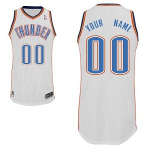 Maillot NBA Oklahoma City Thunder Personnalisé Authentic Blanc Adidas Home - Enfants