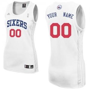 Maillot Adidas Blanc Home Philadelphia 76ers - Swingman Personnalisé - Femme