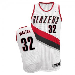 Maillot Adidas Blanc Home Authentic Portland Trail Blazers - Bill Walton #32 - Homme