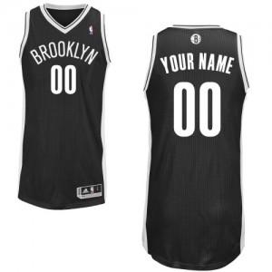 Maillot Adidas Noir Road Brooklyn Nets - Authentic Personnalisé - Enfants