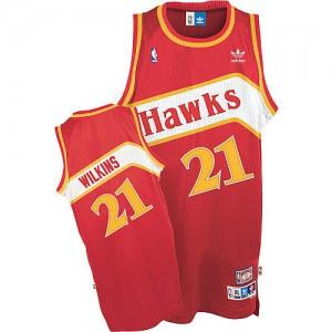 Maillot Adidas Rouge Throwback Swingman Atlanta Hawks - Dominique Wilkins #21 - Homme