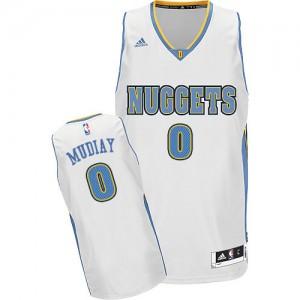 Maillot NBA Blanc Emmanuel Mudiay #0 Denver Nuggets Home Swingman Homme Adidas