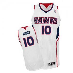 Maillot NBA Blanc Mike Bibby #10 Atlanta Hawks Home Authentic Homme Adidas