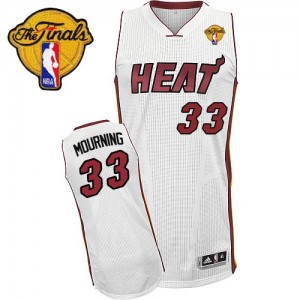 Maillot Authentic Miami Heat NBA Home Finals Patch Blanc - #33 Alonzo Mourning - Homme