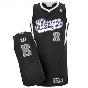 Maillot NBA Sacramento Kings #8 Rudy Gay Noir Adidas Authentic Alternate - Homme