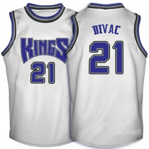 Maillot NBA Sacramento Kings #21 Vlade Divac Blanc Adidas Swingman Throwback - Homme