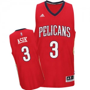 Maillot NBA New Orleans Pelicans #3 Omer Asik Rouge Adidas Authentic Alternate - Homme