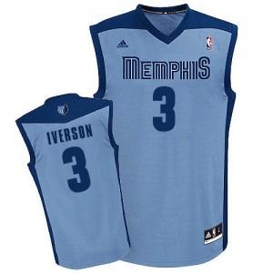 Maillot NBA Bleu clair Allen Iverson #3 Memphis Grizzlies Alternate Swingman Homme Adidas