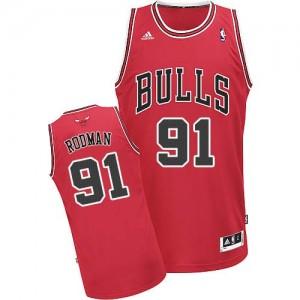 Chicago Bulls #91 Adidas Road Rouge Swingman Maillot d'équipe de NBA vente en ligne - Dennis Rodman pour Homme