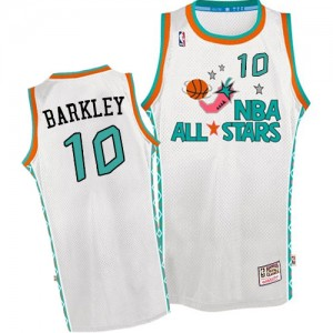 Maillot NBA Blanc Charles Barkley #10 Phoenix Suns Throwback 1996 All Star Swingman Homme Mitchell and Ness