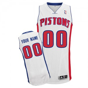 Maillot NBA Detroit Pistons Personnalisé Authentic Blanc Adidas Home - Homme