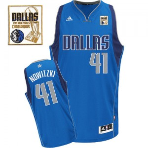 Maillot NBA Bleu royal Dirk Nowitzki #41 Dallas Mavericks Road Champions Patch Swingman Homme Adidas