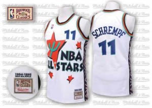 Maillot NBA Blanc Detlef Schrempf #11 Oklahoma City Thunder Throwback 1995 All Star Authentic Homme Adidas