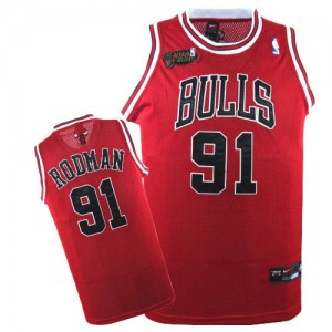 Maillot NBA Authentic Dennis Rodman #91 Chicago Bulls Champions Patch Rouge - Homme