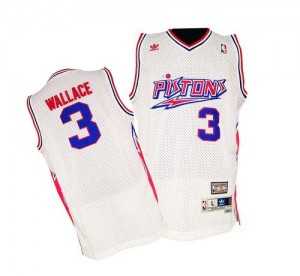 Maillot NBA Detroit Pistons #3 Ben Wallace Blanc Adidas Swingman Throwback - Homme