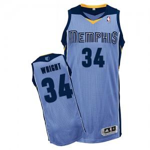 Memphis Grizzlies #34 Adidas Alternate Bleu clair Authentic Maillot d'équipe de NBA Expédition rapide - Brandan Wright pour Homme