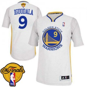 Maillot NBA Authentic Andre Iguodala #9 Golden State Warriors Alternate 2015 The Finals Patch Blanc - Homme