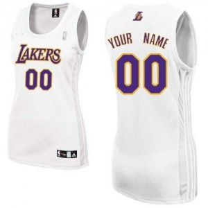 Maillot NBA Los Angeles Lakers Personnalisé Authentic Blanc Adidas Alternate - Femme