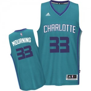 Maillot NBA Swingman Alonzo Mourning #33 Charlotte Hornets Road Bleu clair - Homme