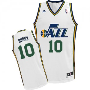 Maillot NBA Blanc Alec Burks #10 Utah Jazz Home Swingman Homme Adidas