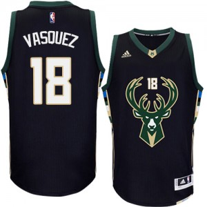 Maillot Adidas Noir Alternate Authentic Milwaukee Bucks - Greivis Vasquez #18 - Homme