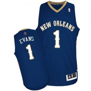 Maillot NBA Bleu marin Tyreke Evans #1 New Orleans Pelicans Road Authentic Homme Adidas