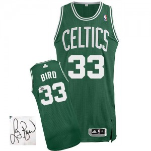 Maillot Adidas Vert (No Blanc) Road Autographed Authentic Boston Celtics - Larry Bird #33 - Homme