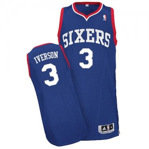 Maillot NBA Authentic Allen Iverson #3 Philadelphia 76ers Alternate Bleu royal - Homme
