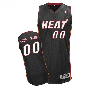 Maillot NBA Miami Heat Personnalisé Authentic Noir Adidas Road - Enfants