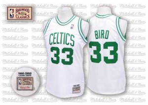 Boston Celtics #33 Mitchell and Ness Throwback Blanc Authentic Maillot d'équipe de NBA en vente en ligne - Larry Bird pour Homme