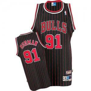 Chicago Bulls #91 Adidas Throwback Noir Rouge Authentic Maillot d'équipe de NBA Remise - Dennis Rodman pour Homme