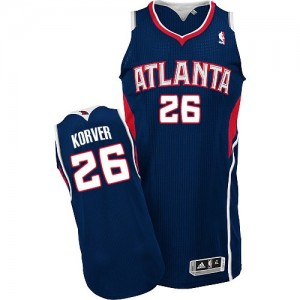 Atlanta Hawks Kyle Korver #26 Road Authentic Maillot d'équipe de NBA - Bleu marin pour Homme
