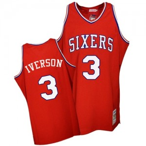 Maillot Mitchell and Ness Rouge Throwback Authentic Philadelphia 76ers - Allen Iverson #3 - Homme