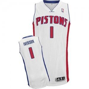 Detroit Pistons #1 Adidas Home Blanc Authentic Maillot d'équipe de NBA prix d'usine en ligne - Allen Iverson pour Homme