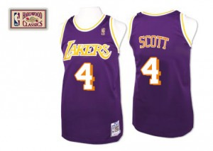 Maillot NBA Violet Byron Scott #4 Los Angeles Lakers Throwback Swingman Homme Mitchell and Ness