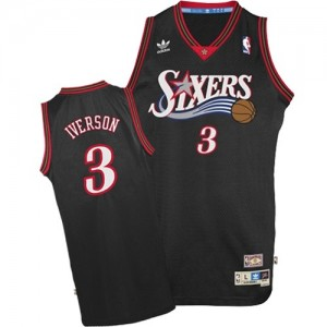 Maillot Authentic Philadelphia 76ers NBA 1997-2009 Throwback Noir - #3 Allen Iverson - Homme