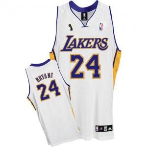 Los Angeles Lakers Kobe Bryant #24 Alternate Champions Patch Swingman Maillot d'équipe de NBA - Blanc pour Enfants