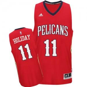 New Orleans Pelicans #11 Adidas Alternate Rouge Swingman Maillot d'équipe de NBA 100% authentique - Jrue Holiday pour Homme