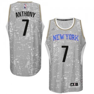 New York Knicks Carmelo Anthony #7 City Light Authentic Maillot d'équipe de NBA - Gris pour Homme