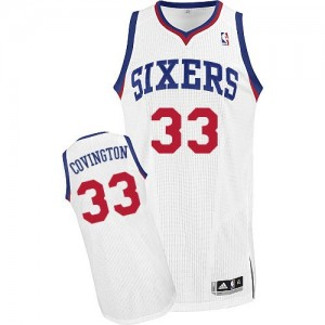 Maillot NBA Philadelphia 76ers #33 Robert Covington Blanc Adidas Authentic Home - Homme