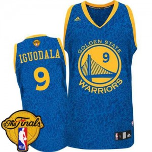 Maillot NBA Bleu Andre Iguodala #9 Golden State Warriors Crazy Light 2015 The Finals Patch Authentic Homme Adidas