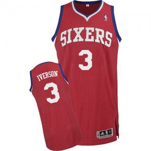 Maillot Adidas Rouge Road Authentic Philadelphia 76ers - Allen Iverson #3 - Homme