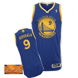 Maillot NBA Bleu royal Andre Iguodala #9 Golden State Warriors Road Autographed Authentic Homme Adidas