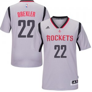 Maillot NBA Gris Clyde Drexler #22 Houston Rockets Alternate Authentic Homme Adidas