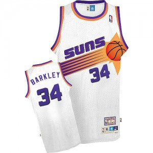 Phoenix Suns #34 Mitchell and Ness Throwback Blanc Authentic Maillot d'équipe de NBA magasin d'usine - Charles Barkley pour Homme