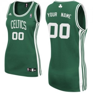 Maillot Adidas Vert (No Blanc) Road Boston Celtics - Swingman Personnalisé - Femme